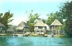Colorized Postcard: A view along the Pasig River near Manila. Postcard by the Photo Supply Company, Manila.