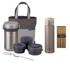 Zojirushi SL-NCE09ST Ms. Bento Stainless Lunch Jar (Stainless Steel) + Chopsticks 5 Pairs + Zojirushi SM-KHE48 Steel Vacuum Mug aSavings