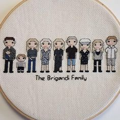 Personalized Family Portrait - Custom Cross Stitch People of Parents, Wife, Husband, Kids, Pets and Friends - unique gift for any occasion