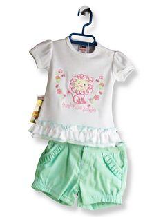 43d57ac88 Conjunto blusa con short LEONCITA Tallas: 06,12,24 m y 3 años Descripción:  Blusa con short para niña. Blusa 50% algodón/ 50% poliéster.