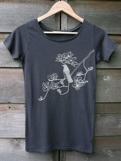 Bird on Dogwood Womens T-shirt HandPrinted Organic by Uzura
