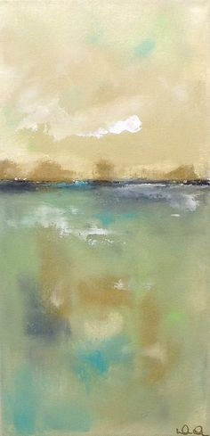 Colorful Abstract Seascape Landscape Sea Greens 12 by lindadonohue