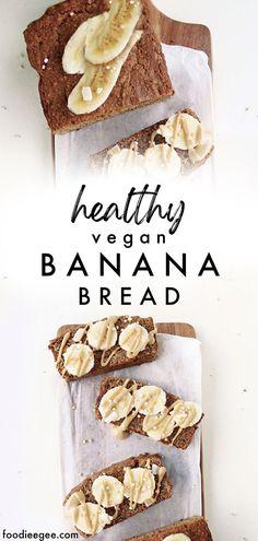Healthy vegan banana bread recipe without refined sugar, gluten free, moist & simple. Get the easy, no sugar, plantbased, oil free, gluten free baking recipe in the Easy Vegan Eats ebook by @foodieegee at foodieegee.com #veganbananabread #bananabreadrecipe #veganbaking #healthyveganbaking #healthyvegandesserts #veganbakingrecipes #healthybananabread #bananabread #vegan #healthy #glutenfree #easy #oilfree #veganbananabread #glutenfreevega #wholefoodplantbased #wfpb #wholefoodsplantbased #nosugar Banana Recipes Vegan, Vegan Baking Recipes, Banana Dessert Recipes, Healthy Vegan Desserts, Sugar Free Desserts, Vegan Banana Bread, Healthy Banana Bread, Breakfast Snacks, Glutenfree