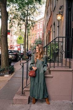 Gal Meets Glam A Green Maxi Dress For Fall - Raquel Allegra dress, Sezane boots & Mulberry bag