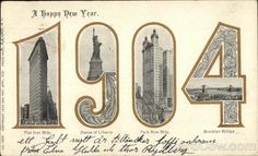 A wonderful image of a horse mounted nyc policeman directing american gilded age era a happy new year greeting postcard c1904 m4hsunfo