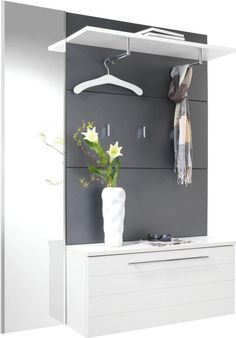 """""""Attractive dressing room anthracite in combination with glossy white color consisting of 1 shoe cabinet including metal shoe baskets, 1 dressing . Hall Furniture, Furniture Design, Home Entrance Decor, Home Decor, Apartment Entryway, Shoe Cabinet, Wardrobe Design, Modern House Plans, Interior Design Living Room"""