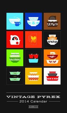 The 2014 Vintage Pyrex Calendar is now out for pre-order - Amazing Graphics by Joe Morelli for Pocono Modern! http://shop.poconomodern.com/products/vintage-pyrex-calendar-2014