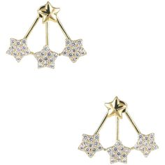 CZ by Kenneth Jay Lane CZ by Kenneth Jay Lane Women's Pave CZ Triple... ($49) ❤ liked on Polyvore featuring jewelry, earrings, gold, gold star jewelry, long earrings, yellow gold earrings, cz earrings and gold cubic zirconia earrings