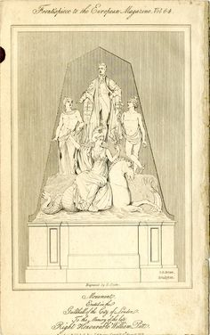 The Pitt monument in the Guildhall; Pitt represented standing on a rock, dressed as the Chancellor of the Exchequer; below are Apollo and Mercury representing Eloquence and Learning; Britannia in the foreground holding a thunderbolt and trident riding side-saddle on a sea horse; after Bubb; frontispiece to the European Magazine.  1813 Etching
