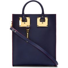 Sophie Hulme Navy Saddle Leather and Gold Mini Tote Bag ($730) ❤ liked on Polyvore featuring bags, handbags, tote bags, purses, bolsas, accessories, navy tote bag, leather tote, genuine leather tote and blue handbags