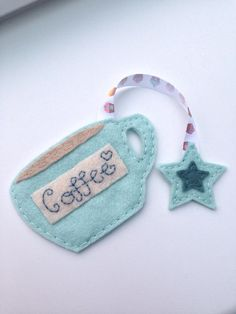 Coffee cup handmade felt bookmark on Etsy, $5.91