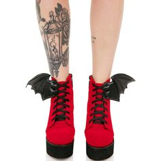 Iron Fist Blood Red Bat Wing Boots ($78) ❤ liked on Polyvore featuring shoes, boots, ankle booties, high heeled footwear, perforated boots, red velvet boots, red platform boots and high heel platform shoes
