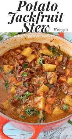 Vegan Potato Jackfruit Stew Recipe with Carrots and Gravy | VeggieSociety.com #Vegan #PlantBased #WFPB #Jackfruit