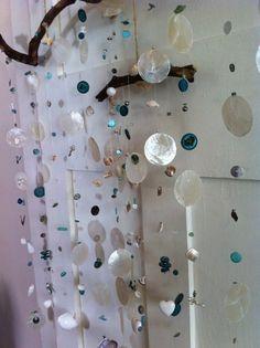White and Turquoise Shell Mobile. Wall Art. Beach Decor. Coastal Living.