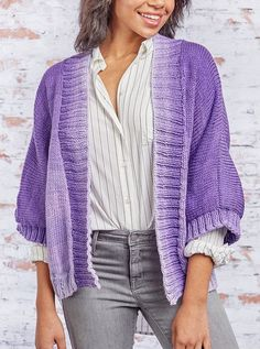 Free Knitting Pattern for Kimono Style Jacket - This cardigan inspired by Japanese style is rated easy by the designer though it does include picking up stitches. Sizes from XS to XL. Designed by Sara Louise Harper for Red Heart