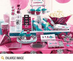 Hot magenta, teal and pink along with images of beauty items make the Pink Zebra Boutique Party Supplies a great choice for any spa party or...