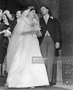 King Simeon of Bulgaria and Margarita Gomez-Acebo y Cejuela, January 1962 Royal Wedding Gowns, Royal Weddings, Vintage Weddings, Wedding Dresses, Royal Brides, Extraordinary People, January 21, Royal Families, Grooms