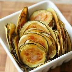 "Zucchini Oven Chips (low carb) - Use Mandolin slicer for thin slices.  Recipe says 1/4"" thick...these should be much thinner than that."