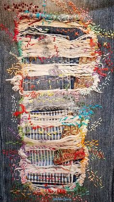 Textile Art 473018767105601794 - Distressed denim jeans, patchwork, boro, stitched, embroidery Source by anaslenoir Sashiko Embroidery, Embroidery Art, Embroidery Stitches, Embroidery Patterns, Embroidery On Jeans, Knitting Stitches, Fabric Art, Fabric Crafts, Sewing Crafts