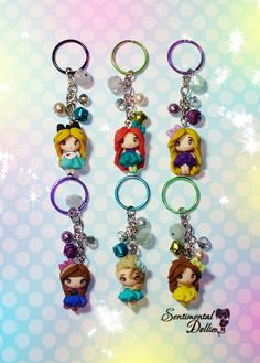 Disney Princess Disney Frozen Elsa Jewelry by SentimentalDollieZ Polymer Clay Miniatures, Fimo Clay, Polymer Clay Charms, Polymer Clay Creations, Polymer Clay Art, Polymer Clay Jewelry, Clay Projects, Clay Crafts, Disney Frozen Elsa