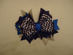 """Blue, Black, Gray Spiked Hairbow, 7"""" Hairbow, Blue, Black, Gray, Clasp Barrette, Cop Colors, Homemade Bow, Childrens Hairbow, Accessories, by Marshaslilcraftpatch on Etsy"""
