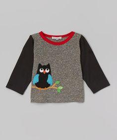 Gray & Black Owl Tee - Infant & Toddler