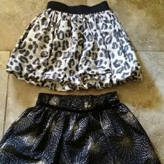 💥BUNDLE💥2 GIRLS SKIRTS 🎀Black cheetah bubble skirt with elastic waist from Children's Place  🎀Black silver glitter skirt with black tutu underneath.  🎀Price listed is for both.  🎀Smoke free home Children's Place & Sonoma Bottoms Skirts