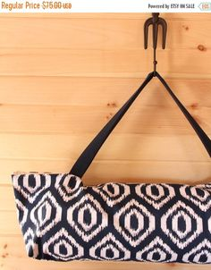 Navy and White Diamond Ikat Yoga Bag.  Perfect for large thick mats or regular sized yoga mats and props.  Handmade by goodmarvin on etsy.
