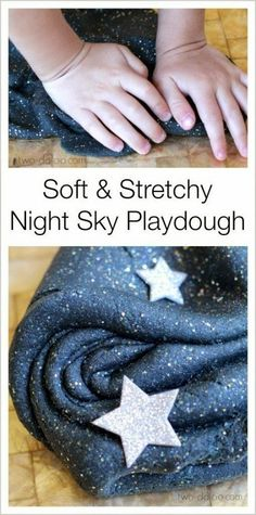 Make this gorgeous stretchy and shiny playdough that looks just like a starry night sky- perfect for space theme in Reception!