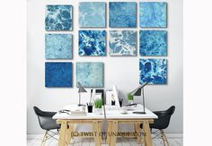 Blue Abstract Painting / Fractal painting / 11 set of paintings (15 x 15) / blue, white, ocean, water, sea, / Ready Now Original painting