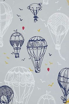 Hot Air Balloons Wallpaper, Anthropologie like for playroom