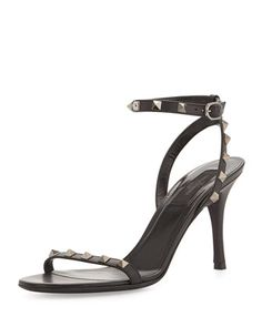 Rockstud Naked Leather Sandal, Black by Valentino at Neiman Marcus.