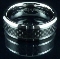 Mens-Tungsten-Carbide-Ring-Black-Carbon-Fiber-Band-Wedding-Engagement-Gift