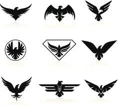 Set of 9 eagle icons - eagle icons vector art illustration - Eagle Wing Tattoos, Black Eagle Tattoo, Wolf Tattoos, Animal Tattoos, Eagle Icon, Cool Symbols, Eagle Drawing, Eagle Emblems, Eagle Pictures