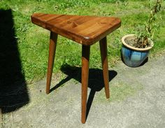 Mid Century Inspired Triangle Side Table by OrWaDesigns on Etsy
