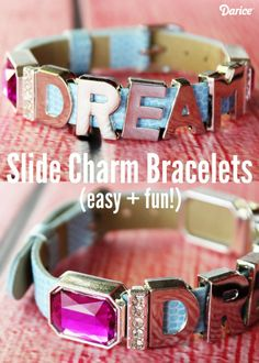 These pretty slide charm bracelets are great for a teen or tween in your life & with just a handful of supplies, it can be completed in just a few minutes!