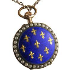 Dazzling Royal Blue Enamel Antique 14K Rose Gold/Silver/Pearl Pocket Watch, Full Working Order