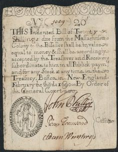 Colonial Currency 20 Shillings Massachusetts Note Series of 1690 Queen Victoria Family Tree, Massachusetts Bay Colony, American Revolutionary War, Colonial America, Teaching Social Studies, Vintage Labels, Vintage Ephemera, Old Coins, Founding Fathers