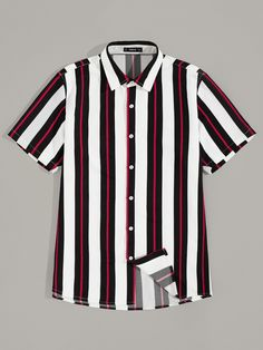 SweatyRocks Men Stripe Print Button Up Shirt Streetwear Shirts Fashion Placket Top 2019 Summer Casual Short Sleeve Male Shirt - multi,xxl Casual Shirts, Casual Outfits, Men Casual, Button Up Shirts, Tee Shirts, Shirt Men, Sneaker Store, Summer Shirts, Mens Clothing Styles