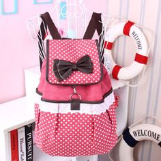 Cute Pink Backpack with White Polka Dots and White Lace, Brown Shoulder Straps and Bow <3