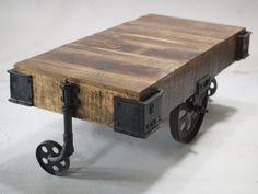 """industrialny stolik kawowy na kółkach """"Railway"""" - Wymiary: 120x60x45 - 1930zł - Stoliki Ławy - Meble - Sklep internetowy Guido"""