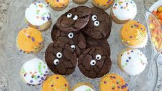 Easy chocolate monster cookies and Halloween drink labels