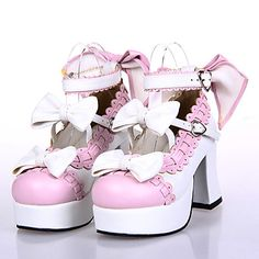 Handmade White PU Leather 7.5cm High Heel Sweet Lolita with Bow - GBP £ 52.19