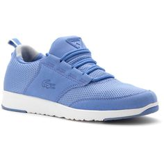 Lacoste Women's L.Ight 216 1 Fashion Sneakers (385532102) ($95) ❤ liked on Polyvore featuring shoes, sneakers, blue, lacoste trainers, pull on shoes, cushioned shoes, slip on sneakers and ortholite shoes
