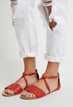 Faux Leather Crisscross-Strap Sandals | Forever 21 - 2000053508