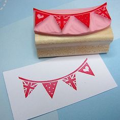Mini Bunting Hand Carved Rubber Stamp