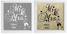 Vinyl Sticker 20 x 20cm DIY Box Frame - MR & MRS WEDDING - personalise name/date