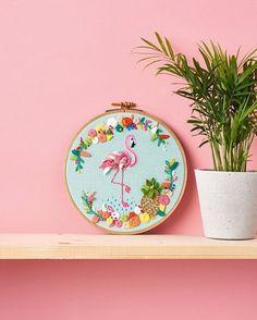 flamingo hand embroidery