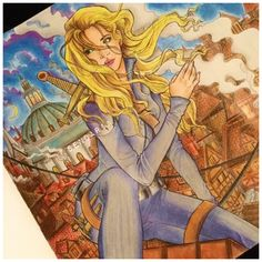 Celaena Sardothien, Aelin Galathynius looking out over Rifthold. Throne of glass colouring book. Coloured by Sendaria.
