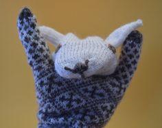 hand knit Estonian sheep puppet